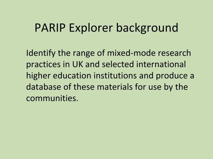 PARIP Explorer background
