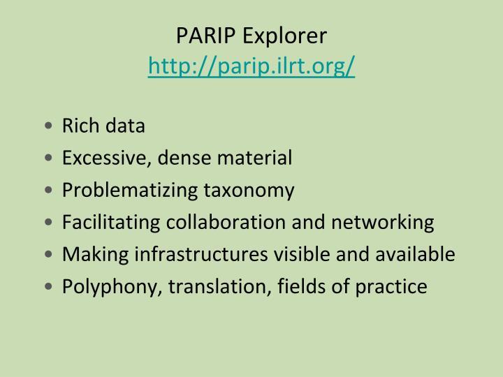 PARIP Explorer
