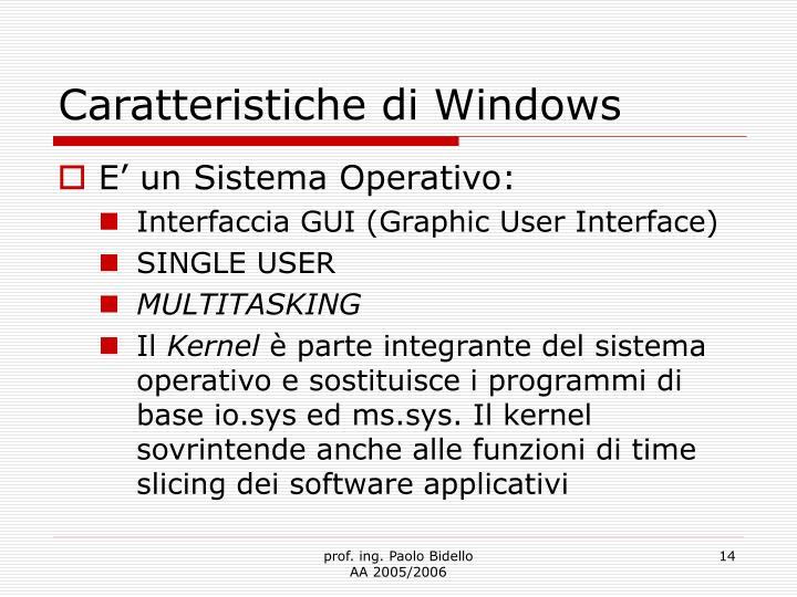 Caratteristiche di Windows