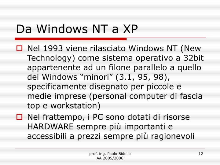 Da Windows NT a XP