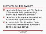 elementi del file system
