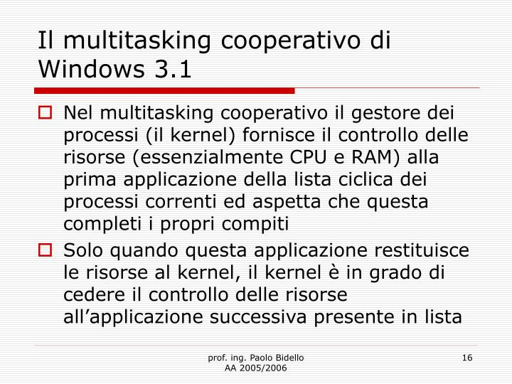 Il multitasking cooperativo di Windows 3.1