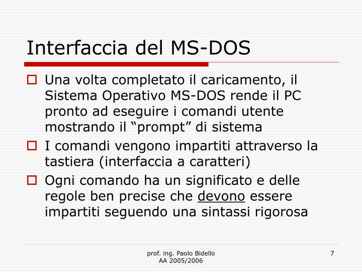 Interfaccia del MS-DOS