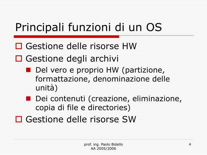 Principali funzioni di un OS