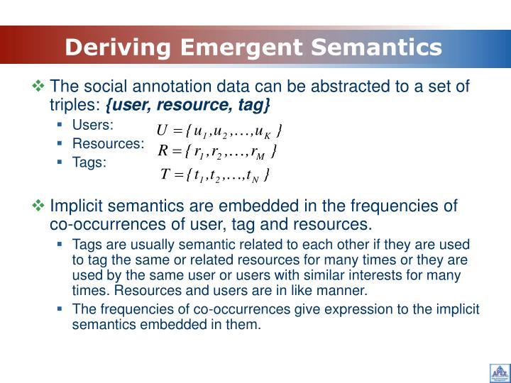 Deriving Emergent Semantics
