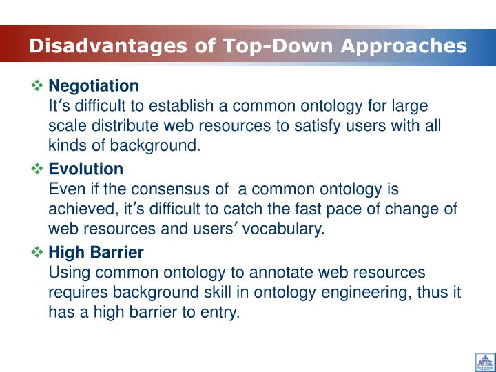 Disadvantages of Top-Down Approaches