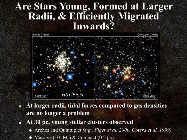 Are Stars Young, Formed at Larger Radii, & Efficiently Migrated Inwards?