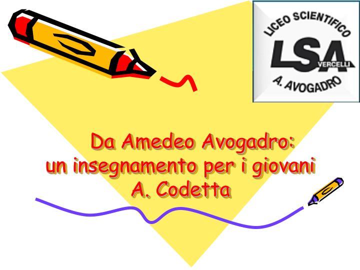 Da Amedeo Avogadro:                   un insegnamento per i giovani