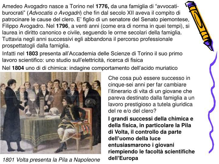 Amedeo Avogadro nasce a Torino nel