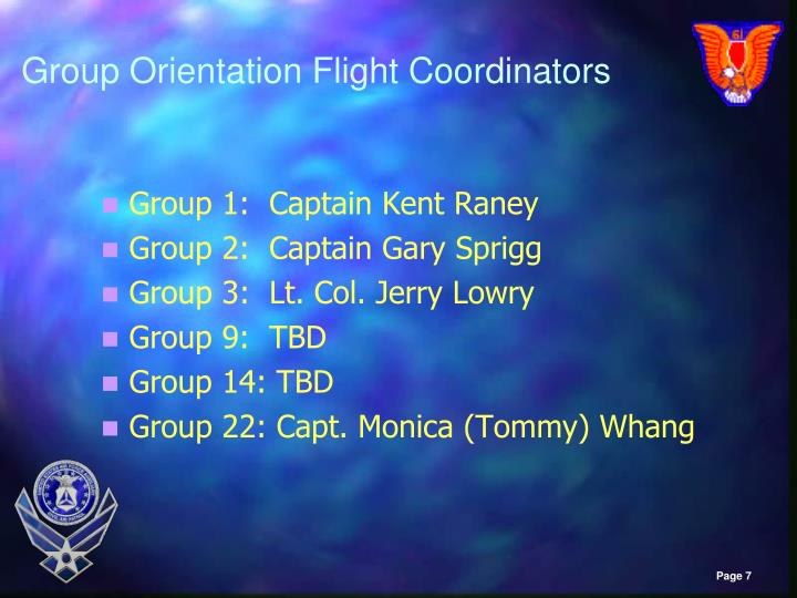 Group Orientation Flight Coordinators