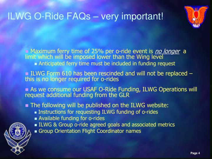 ILWG O-Ride FAQs – very important!