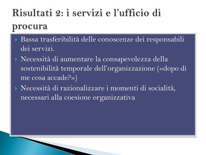 Risultati 2: i servizi e l'ufficio di procura
