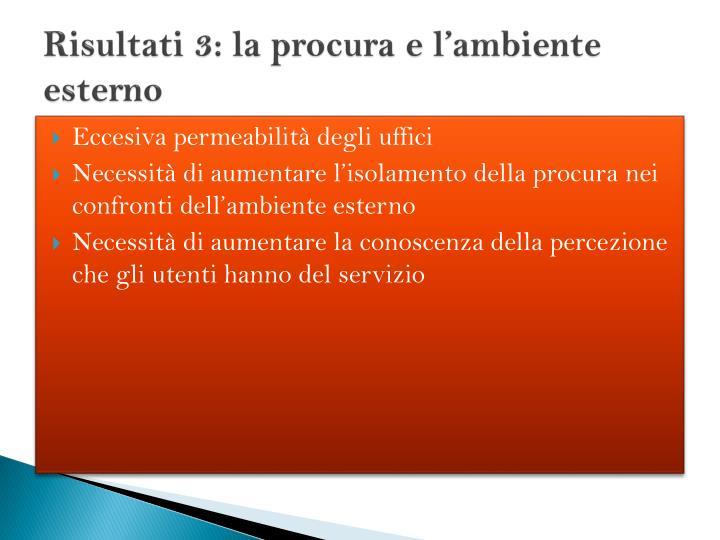 Risultati 3: la procura e l'ambiente esterno