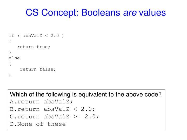 CS Concept: Booleans