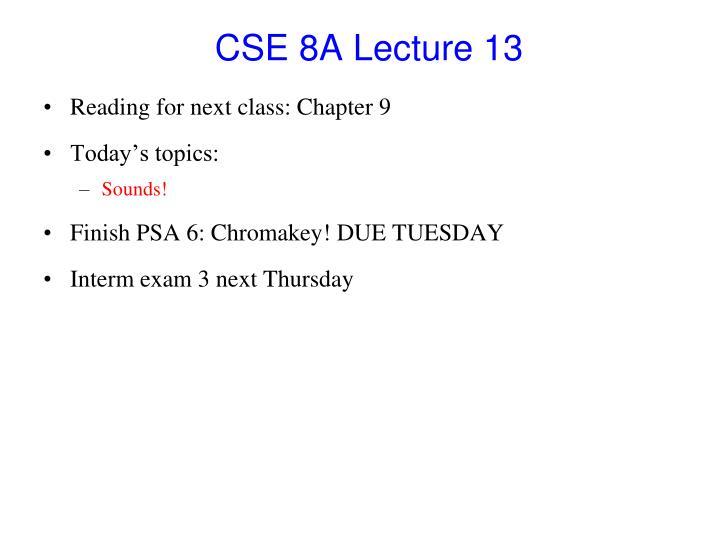 CSE 8A Lecture