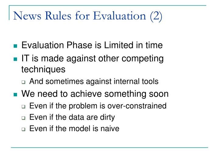 News Rules for Evaluation (2)