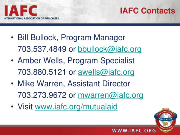 IAFC Contacts