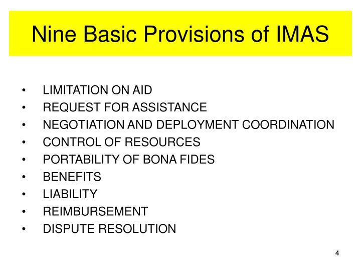 Nine Basic Provisions of IMAS