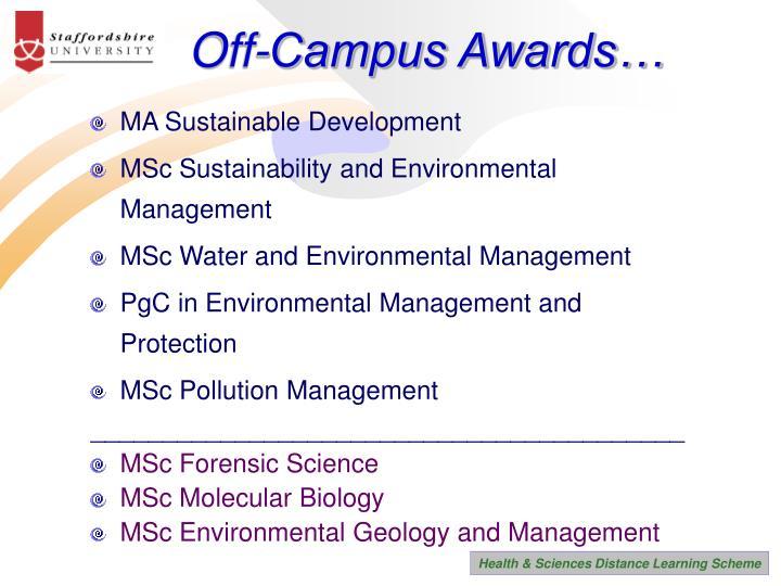 Off-Campus Awards…