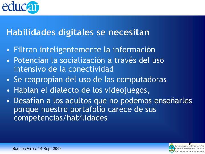 Habilidades digitales se necesitan