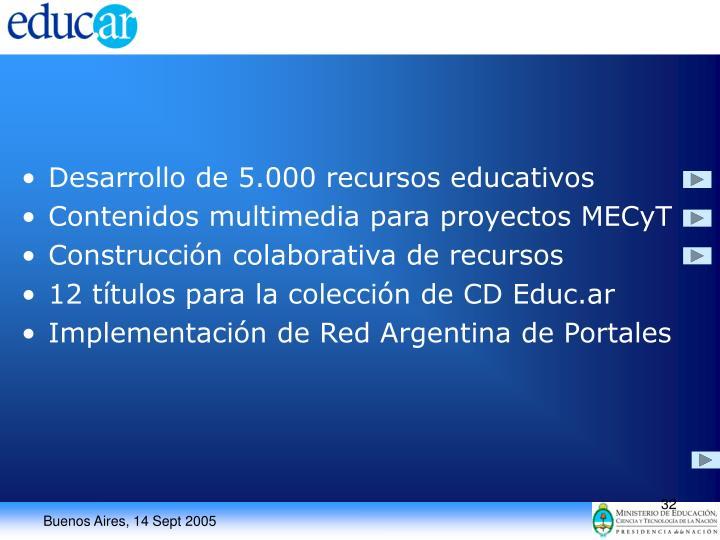 Desarrollo de 5.000 recursos educativos