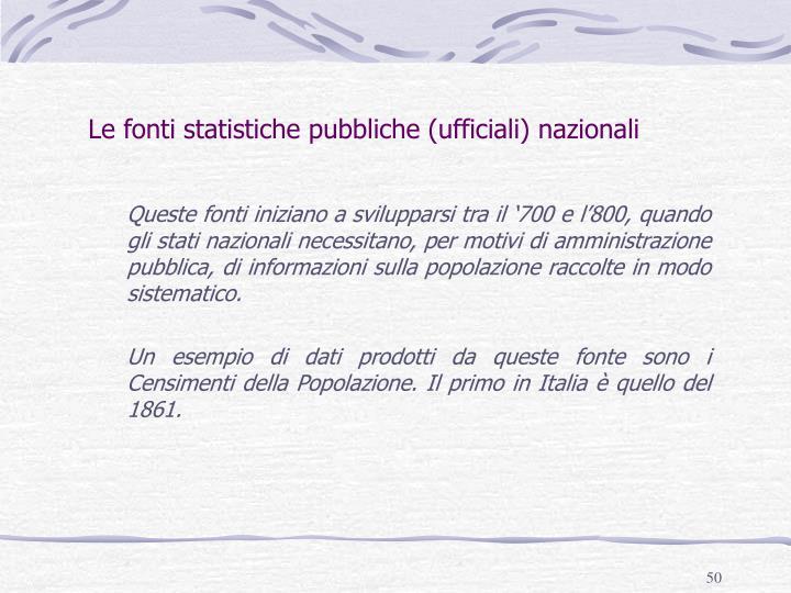 Le fonti statistiche pubbliche (ufficiali) nazionali