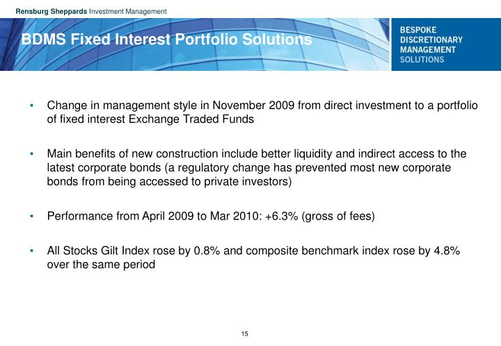 BDMS Fixed Interest Portfolio Solutions