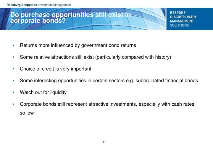 Do purchase opportunities still exist in corporate bonds?