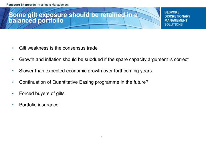 Some gilt exposure should be retained in a balanced portfolio