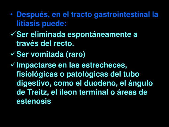 Después, en el tracto gastrointestinal la litiasis puede: