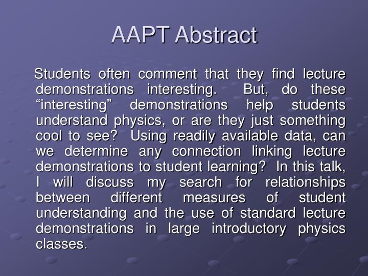 AAPT Abstract