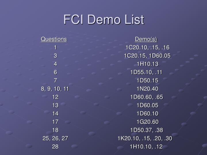 FCI Demo List