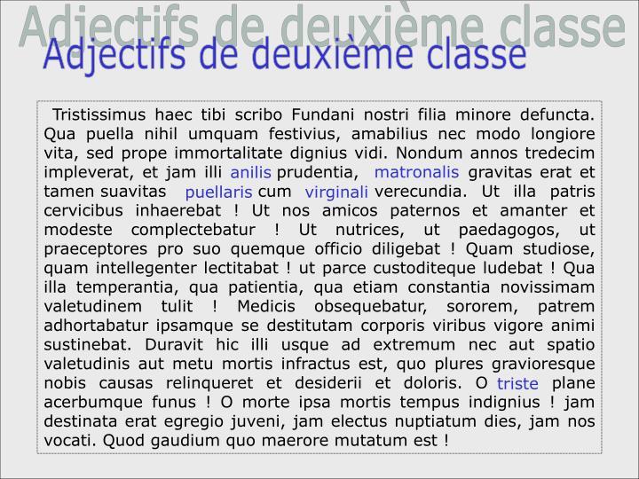 Adjectifs de deuxième classe