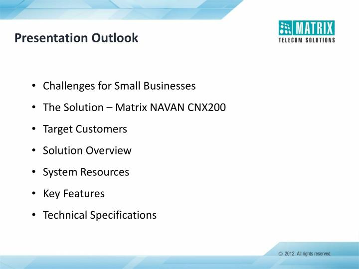 Presentation Outlook
