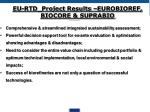 eu rtd project results eurobioref biocore suprabio
