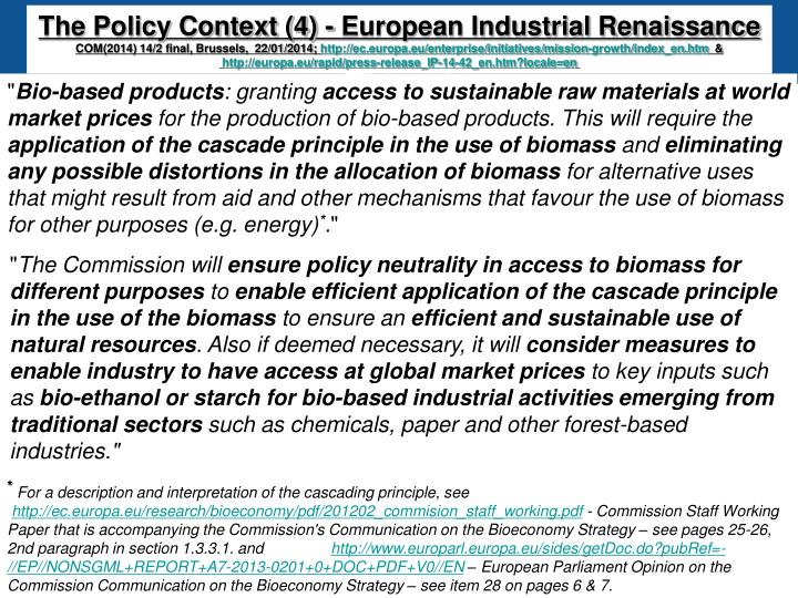 The Policy Context (4) - European Industrial Renaissance