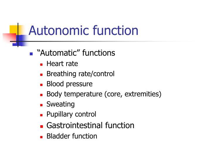 Autonomic function