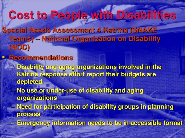 Cost to People with Disabilities