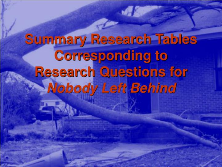 Summary Research Tables Corresponding to