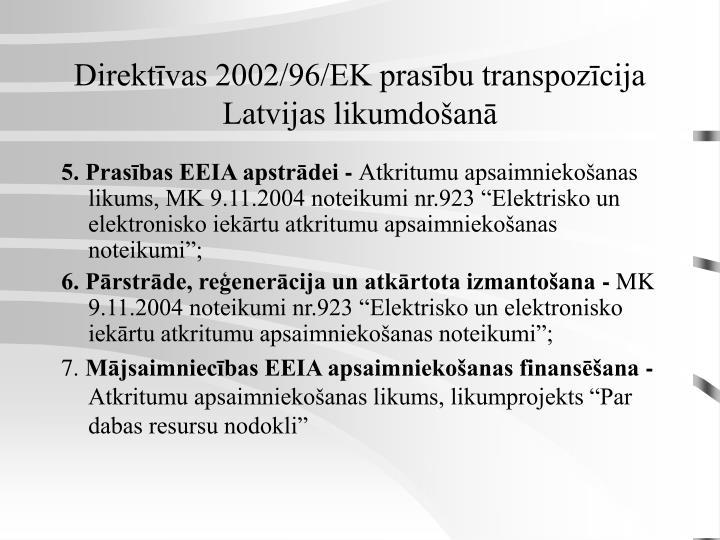 Direktīvas 2002/96/EK prasību transpozīcija Latvijas likumdošanā