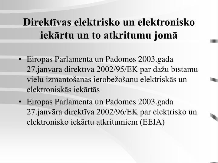 Direktīvas elektrisko un elektronisko iekārtu un to atkritumu jomā