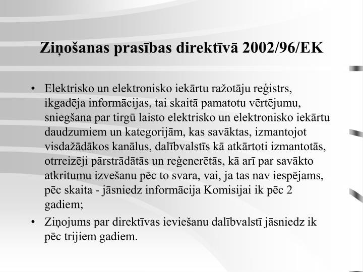 Ziņošanas prasības direktīvā 2002/96/EK