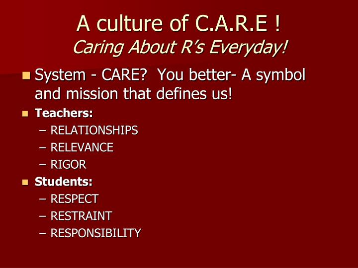 A culture of c a r e caring about r s everyday