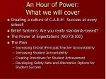 an hour of power what we will cover