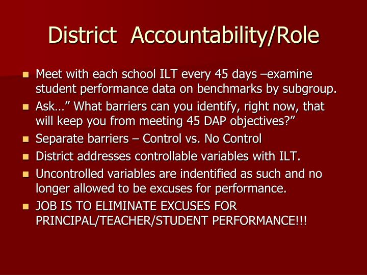 District  Accountability/Role
