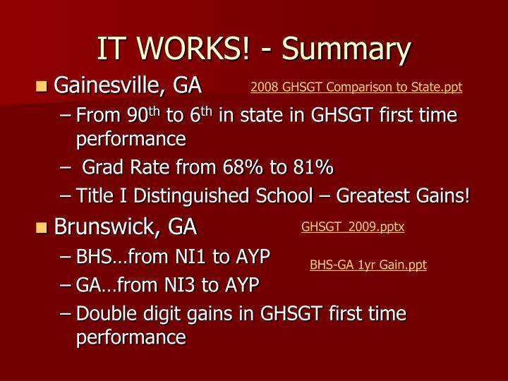 IT WORKS! - Summary