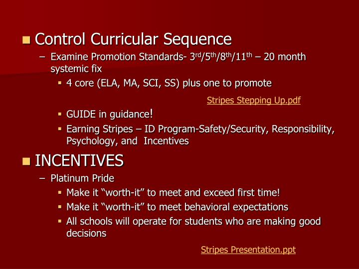 Control Curricular Sequence