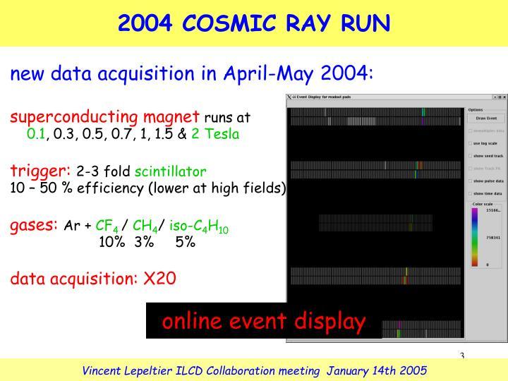 2004 COSMIC RAY RUN
