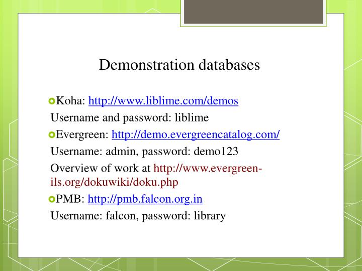 Demonstration databases