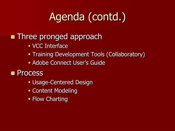 Agenda (contd.)